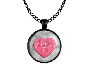 Anti-Valentine's Day Hashtag Single Life Pink Heart Cabochon Necklace