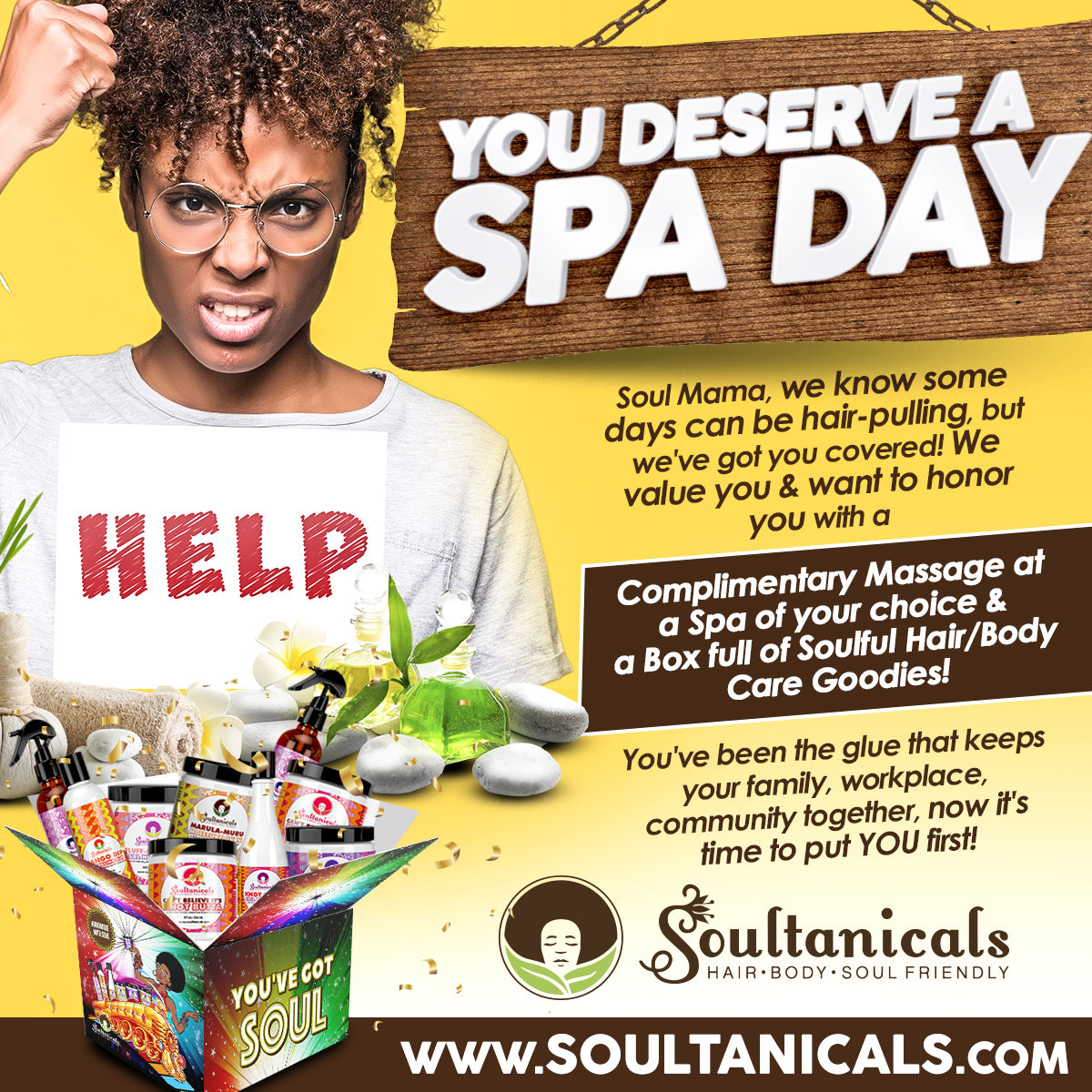 Win a FREE Day of Pampering & Hair/Body/Soul Care Goodies on Us!