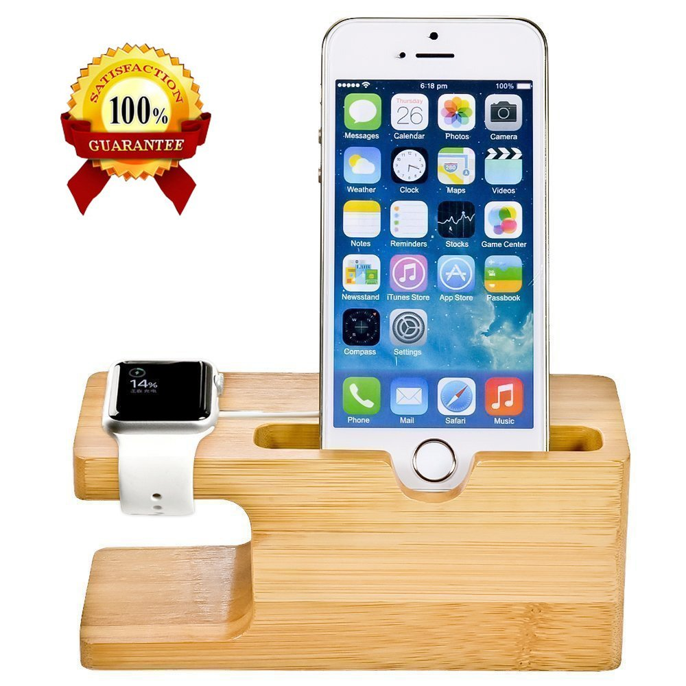 mobile pc tablet station phone dock products plus desk bamboo watch fulaikate nightstand wood iphone stand for apple