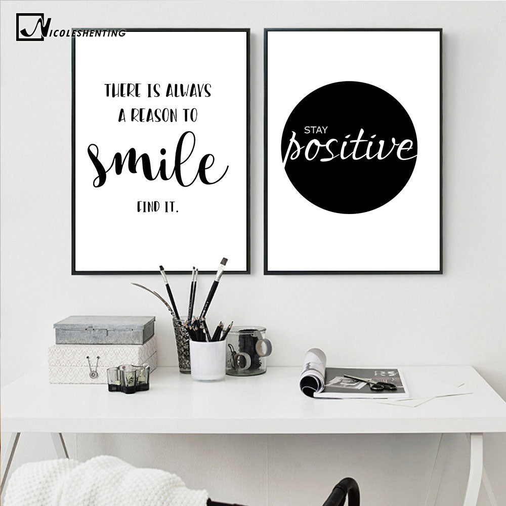 Favorite NICOLESHENTING Smile Simple Quote Motivational Poster Prints Black  YV64