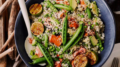 Brown Rice Salad with Salmon, Peas and Avocado