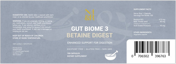 Natural Supplements - Gut Biome 3 Betaine Digest