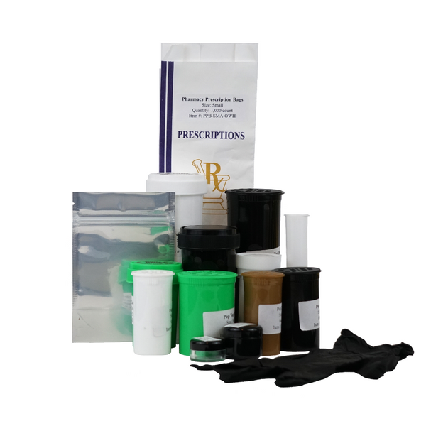 Dispensary sample pack with pop top bottles, reversible cap vials, pre-roll tubes, barrier bags, nitrile gloves, pharmacy bags, polystyrene concentrate container and polypropylene concentrate container