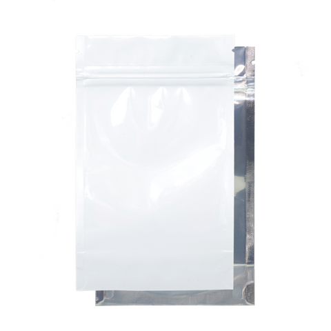 1/4 Ounce Mylar Barrier Bags White/Clear - 100 units - weed packaging and beyond