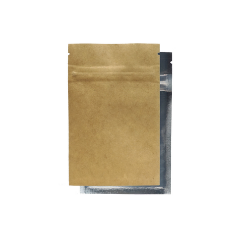 1 Gram Mylar Barrier Bags Kraft/Clear - 100 units - weed packaging and beyond