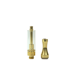 1 ml Round Metal Tip Glass Cartridge Gold - 100 units - weed packaging and beyond