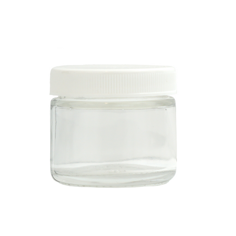 2 oz Glass Jars with White Cap - 240 units - weed packaging and beyond