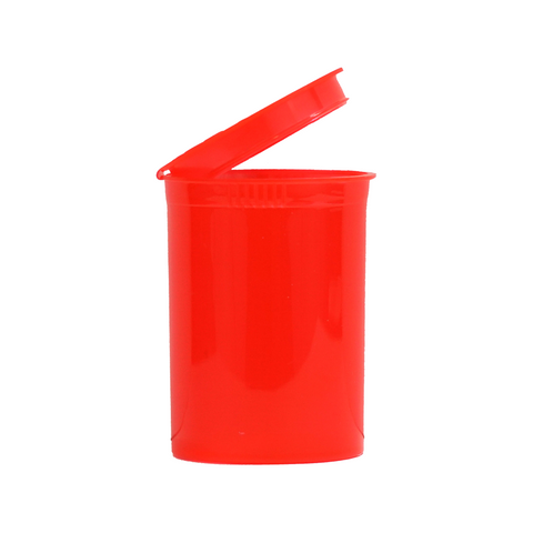 30 dram pop top bottle translucent red with cap open side view