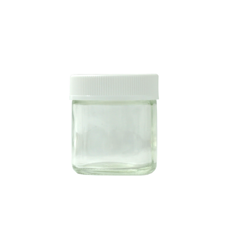 3 oz Glass Jars Child Resistant White Cap - 100 units - weed packaging and beyond