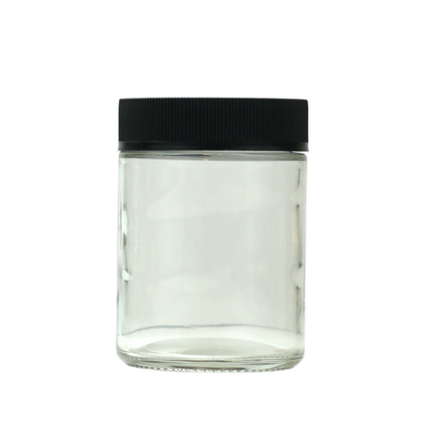 4 oz Glass Jars Child Resistant Black Cap - 100 units - weed packaging and beyond