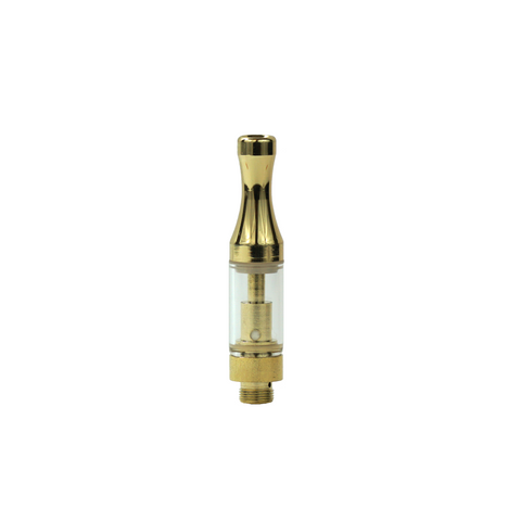 .5 ml Round Metal Tip Glass Cartridge Gold - 100 units - weed packaging and beyond
