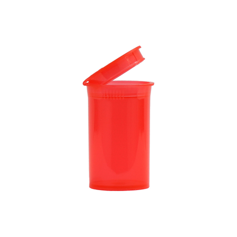 6 Dram Pop Top Bottles Child Resistant Translucent Red - 720 units - weed packaging and beyond