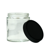 6 oz Glass Jars with Black Cap - 100 units - weed packaging and beyond