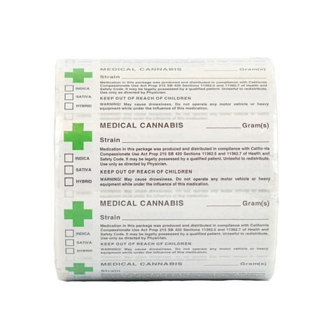 California Medical Marijuana Labels - 1,000 units - weed packaging and beyond