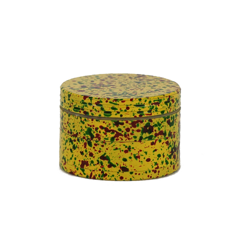 Metal Grinder Yellow 4 Parts Splatter Design 56 mm - weed packaging and beyond