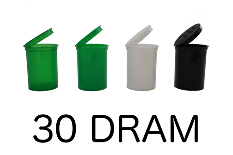 30 Dram Pop Top Bottles Child Resistant - 150 units - weed packaging and beyond