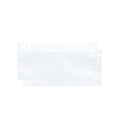 Pre-roll mylar barrier bag white front and back sides