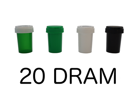 20 Dram Reversible Cap Vials Child Resistant - 240 units - weed packaging and beyond