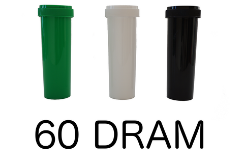 60 Dram Reversible Cap Vials Child Resistant - 100 units - weed packaging and beyond