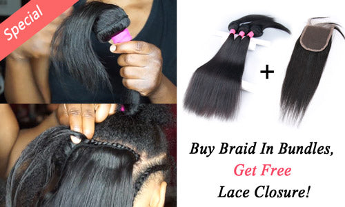 Buy braid in bundles, get free lace closure