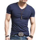 Elastic V neck Fitness Men T-Shirt