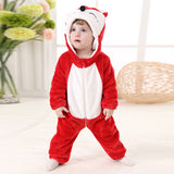 Cute animal inspired baby romper in red.