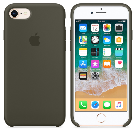 Apple Coque Silicone iPhone 7 / iPhone 8 - Olive sombre- Neuf d'origine