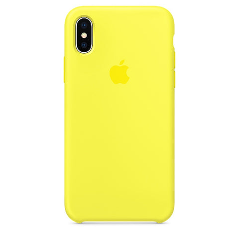 Apple Coque Silicone iPhone X - Jaune Flashy- Neuf d'origine