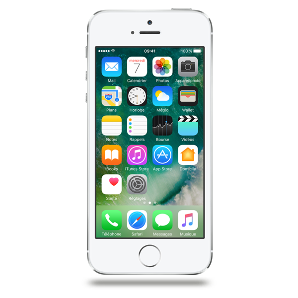 Apple iPhone 5s - Argent - 16 GB - Écran 4'' - Occasion reconditionné - Grade Ruby