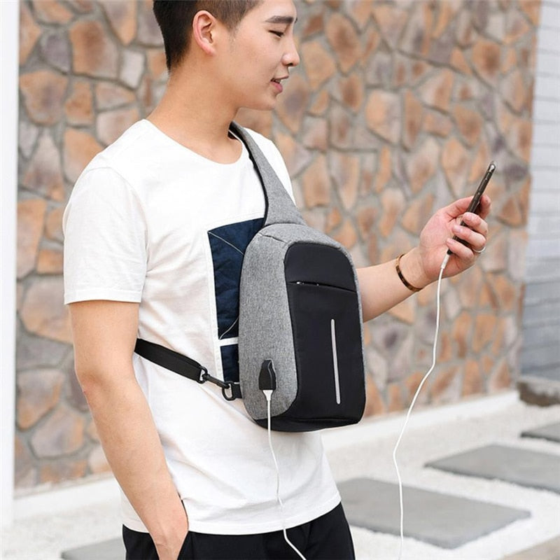Anti-Theft Unisex 1-Strap Crossbody/Backpack Bag with USB Charging Outlet