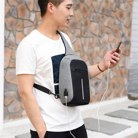 Image of Anti-Theft Unisex 1-Strap Crossbody/Backpack Bag with USB Charging Outlet