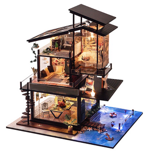 New DIY Valencia Coastal Villa Doll House Model Building Kit With Furniture