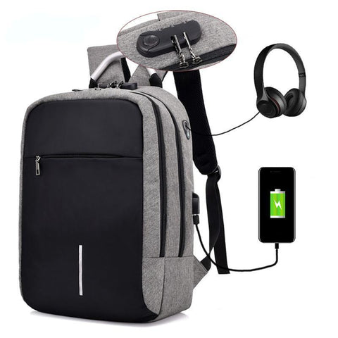 Anti-Theft Unisex 2-Strap Backpack with USB Charging Outlet