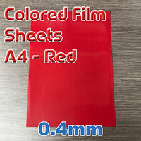 Sheet - Red Film - A4 x 0.4mm (1 Per Pack)