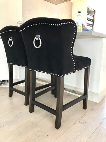 Deluxe Bar Chair Black Velvet w/ pull ring