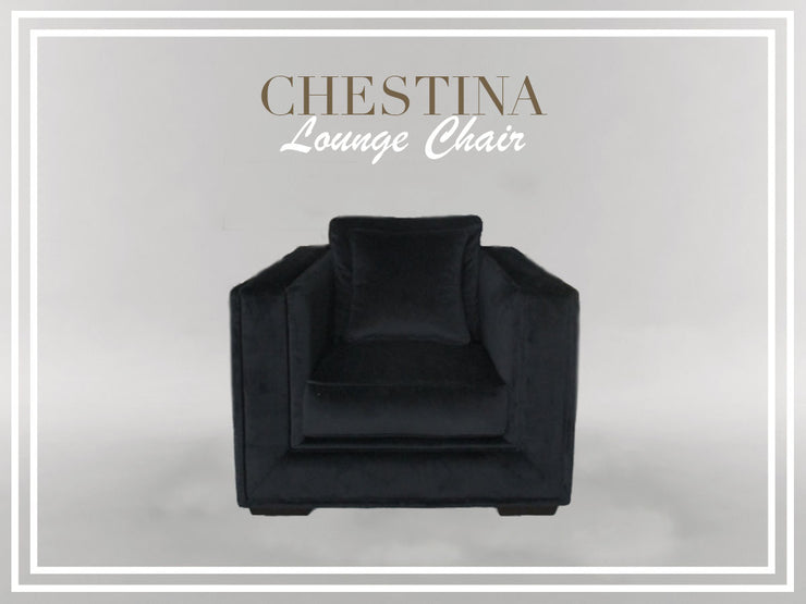 Chestina Black Velvet Armchair