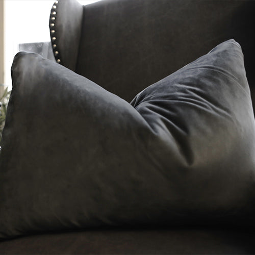 Dark Grey Velvet Long Cushion