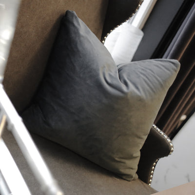 Dark Grey Velvet Square Cushion