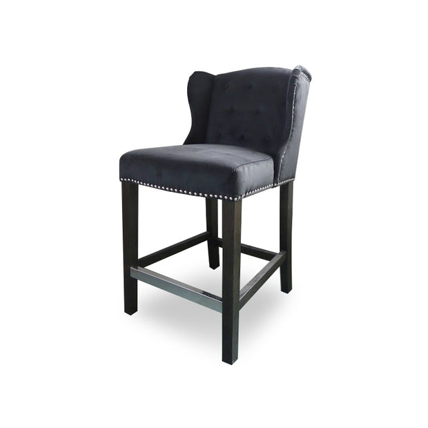 Deluxe Bar Chair Black Velvet w/ handle