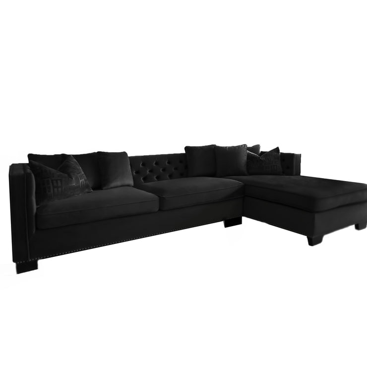 Glamour Sofa m/sjeselong Sort Velour Venstre Side  UTSTILLINGSMODELL
