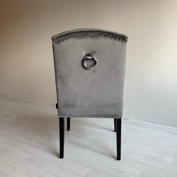 Luxury Dining Chair Grey Velvet