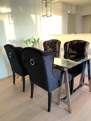 Luxury Dining Chair Black Velvet