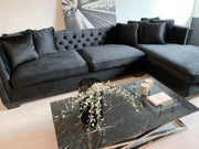 Sofa Glamour m/sjeselong Sort Velour (høyrevendt)