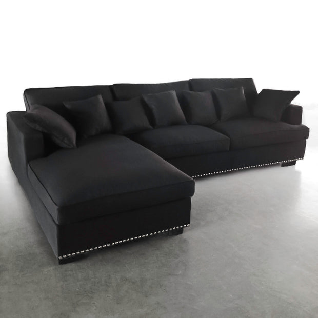 Magnolia Sectional Sofa w/ right side Black Velvet