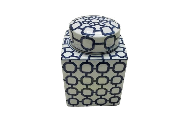 Jar Morrocan blue/white