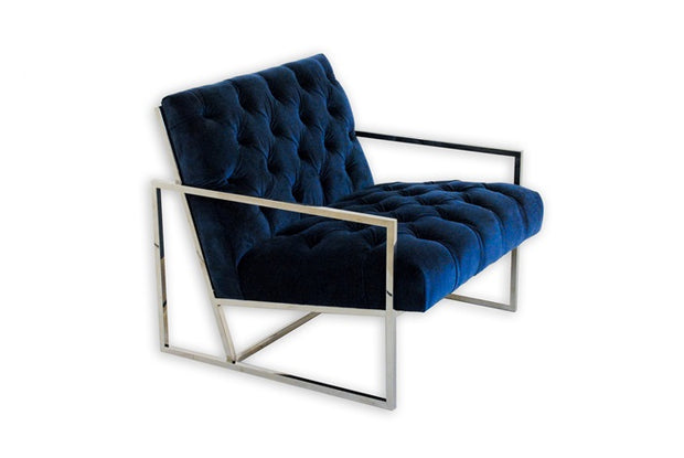 Armchair Club Blue Velvet