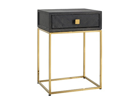 Side Table Blackbone Oak gold 1-drawer 50 cm
