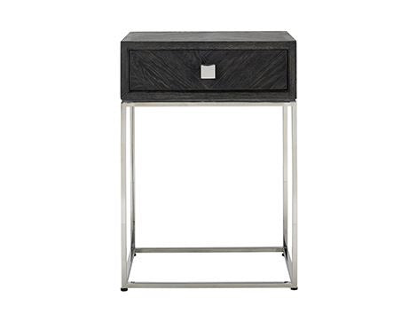 Side Table Blackbone Oak silver 1-drawer 50 cm