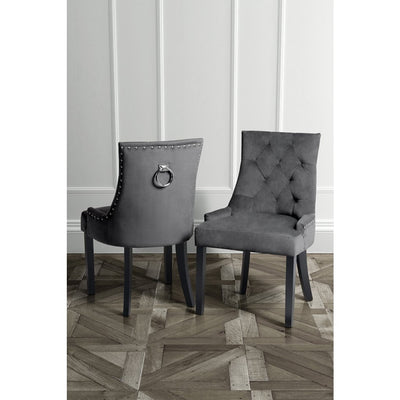 Cornelia Dining Chair Grey Velvet INTROTILBUD