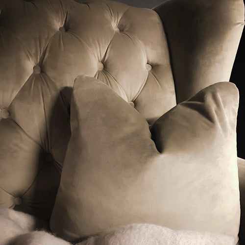 Deep Beige Velvet Square Cushion